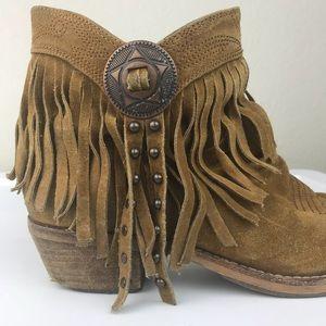 ef70ad3470eb8 Sam Edelman Shoes - Sam Edelman Sidney 100% leather tan fringe bootie